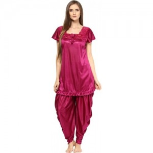Fashigo  Pink Satin Silk Solid Night Wear