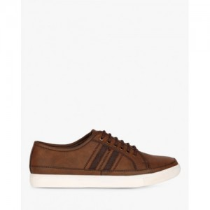 SAN FRISSCO Brown Panelled Low-Top Sneakers