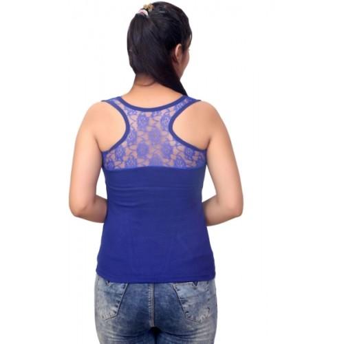 Q-Rious Blue Cotton Lycra Camisole