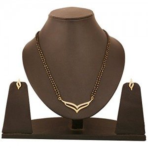 Touchstone Golden Alloy Metal White Crystals Black Beads Mangalsutra