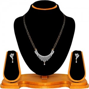 Quail Alloy Gold Plated American Diamond Mangalsutra Set for Women with Earring Set