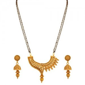 Jfl -Jewellery For Less Copper One Gram Gold Plated Spiral Mangalsutra