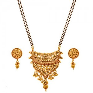 Jfl - Jewellery For Less Copper One Gram Gold Plated Mangalsutra With Earring