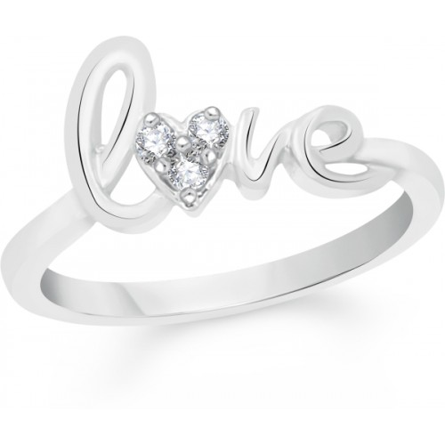 VK Jewels Love Alloy Cubic Zirconia Rhodium Plated Ring