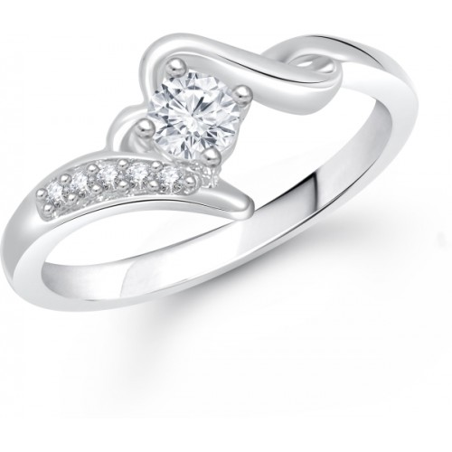 Meenaz Jewellery Diamond Silver Solitaire Rings for Women