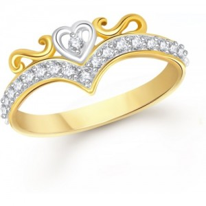 VK Jewels Royal Crown Alloy Cubic Zirconia 18K Yellow Gold Plated Ring