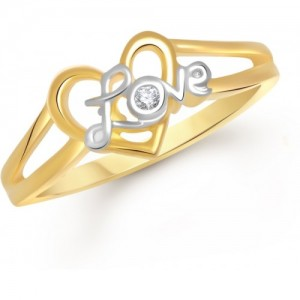 VK Jewels Alloy Cubic Zirconia Yellow Gold Plated Ring