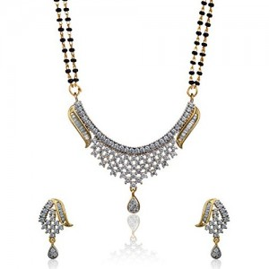 Alysa Silver Cz Mangalsutra with Stud Earrings For Women
