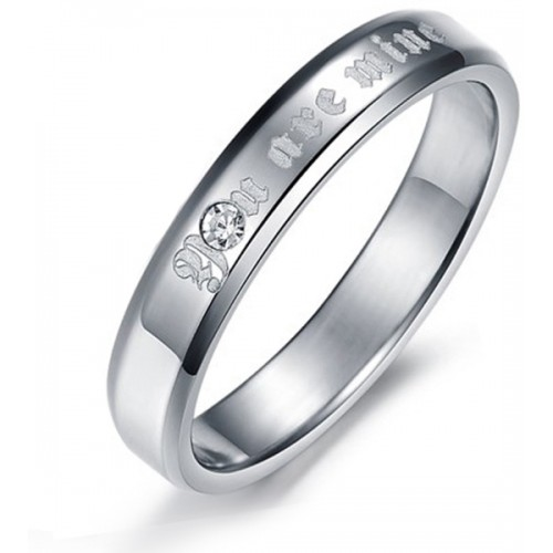 Aaishwarya You Are Mine' Engraved Finish Promise Band Stainless Steel Crystal Silver Plated Ring