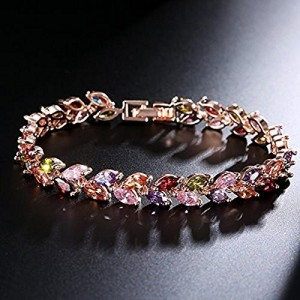Yutii Leafs-In-Tiara Swiss Cubic Zirconia 18K Gold Plated Diamond Strand Bracelet