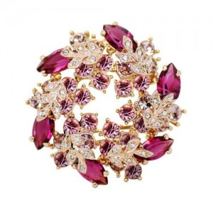 Silver Shoppee Immaculate 22K Yellow Gold Plated Swarovski Crystal Studded Alloy Brooch