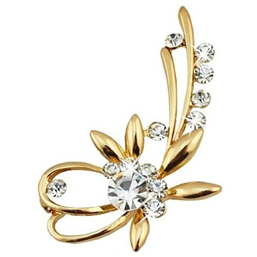 Buy Via Mazzini Gold Plated Elegant Crystal Brooch Cum Saree Pin For