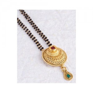 Voylla Traditional Alloy With Yellow Gold Plated Kundan Mangalsutras For Women