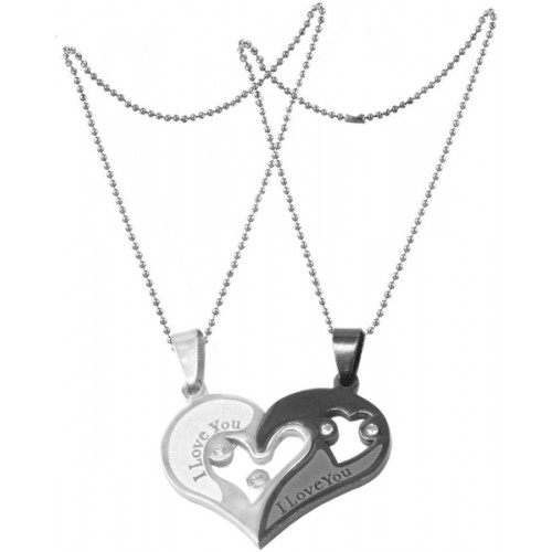 Men Style I Love You Heart Shape Couple Pendant