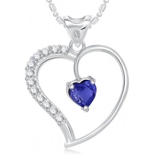 VK Jewels Blue Stone in Heart  Alloy Pendant