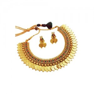 YouBella Red Traditional Temple Coin Necklace Set With Earrings