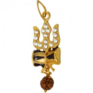 Men Style Cubic Zironia Shiv Trishul Damaru With Rudraksha Pendant