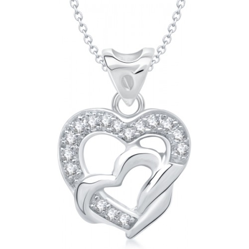 VK Jewels Heart Shape Rhodium Cubic Zirconia Alloy Pendant