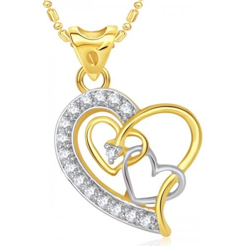 VK Jewels Three Heart 18K Gold Cubic Zirconia Alloy Pendant