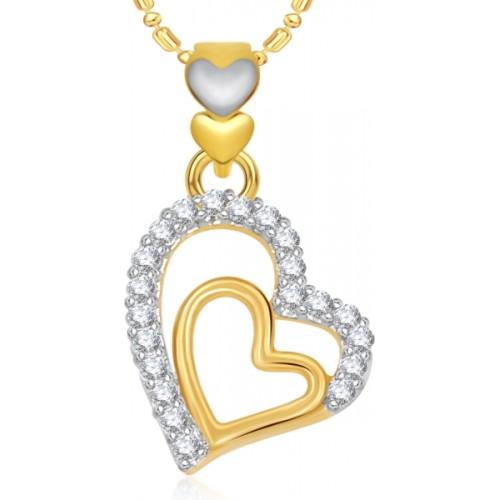 VK Jewels Couple Heart 18K Gold Cubic Zirconia Alloy Pendant