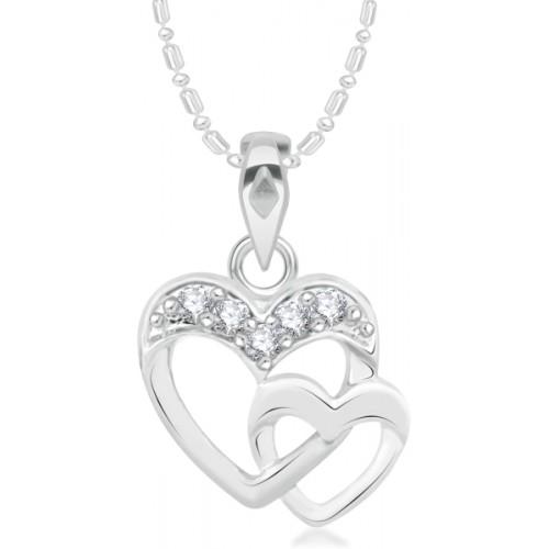 VK Jewels Double Heart Rhodium Cubic Zirconia Alloy Pendant