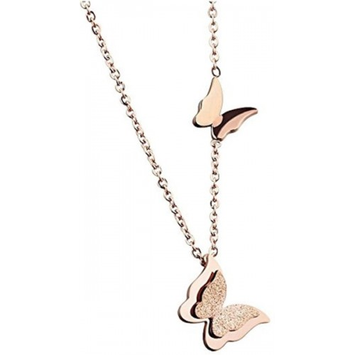 Yellow Chimes 18K Rose Gold Plated Butterfly Pendant
