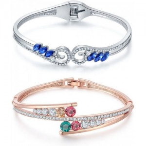 Jewels Galaxy Copper Cubic Zirconia Rose Gold Charm Bracelet