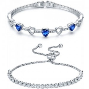 Jewels Galaxy Copper Crystal Platinum Charm Bracelet