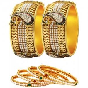 Jewels Galaxy Golden Alloy Bangle Set