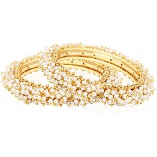 Jewels Galaxy Alloy Cubic Zirconia Copper Bangle Set