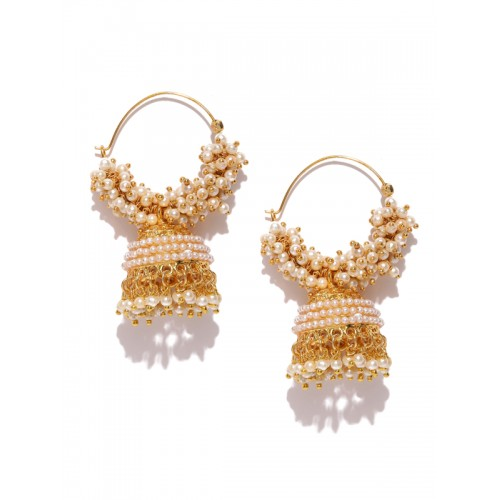 YouBella Off-White Gold-Plated Beaded Dome Shaped Jhumkas