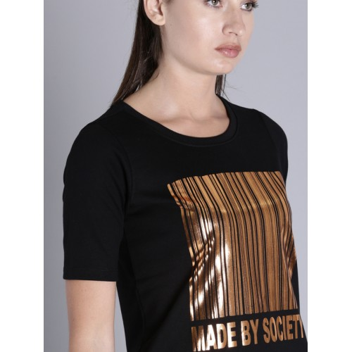 Kook N Keech Women Black Printed T-shirt Dress
