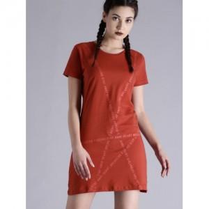 86fa7fd7e2 Buy FOREVER 21 Women Beige Solid T-shirt Dress online
