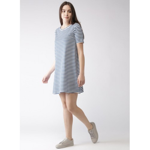 6ae1869aa52d Buy Mast & Harbour Navy Blue Striped Shift Dress online | Looksgud.in