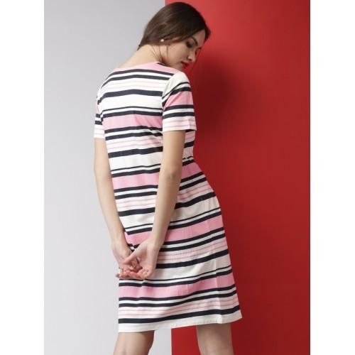 f9874598389d Buy Mast & Harbour Women Pink & White Striped T-shirt Dress online ...