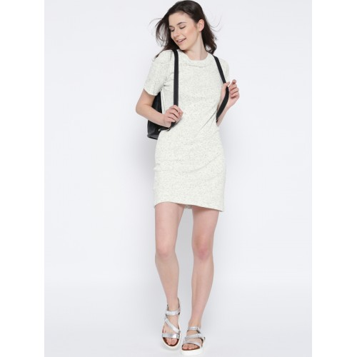 Miss Chase White Cotton Solid Slim Fit T-Shirts Dress