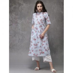 Anouk Blue Printed Pocket Style Kurta