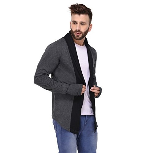 Rigo Charcoal With Thumbhole open Long Cardigan full Sleeve Shrug for Men