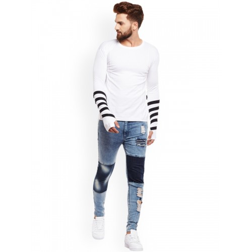 FUGAZEE Men White Solid Slim Fit Round Neck T-shirt