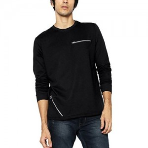 Maniac Self Design Men's Round Neck Black T-Shirt