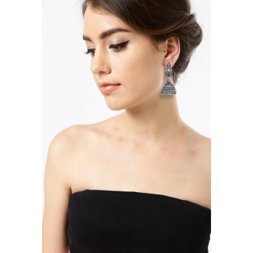 Zaveri Pearls Combo of 4 Dark Antique Silver Zinc Jhumki Earring