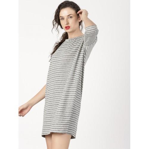 e16887deb40 Buy ether Women Grey Melange   White Striped T-Shirt Dress online ...