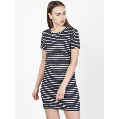 b7fa18f4e906 Buy ether Women Navy Blue   White Striped T-shirt Dress online ...