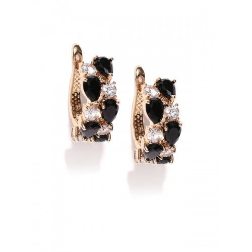 Jewels Galaxy Black Gold-Plated Handcrafted Ear Cuff
