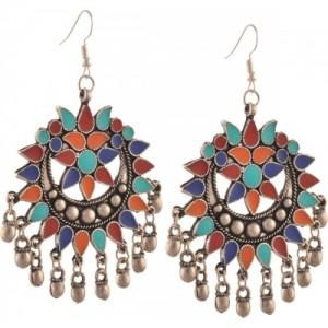 c649c15d7 Zephyrr Fashion German Silver Afghani Dangler Hook Chandbali Earrings Alloy Dangle  Earring