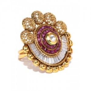 Jewels Galaxy Pink & Gold Stone-Studded Textured Ring