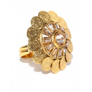 Jewels Galaxy Gold-Toned Stone-Studded Textured Ring