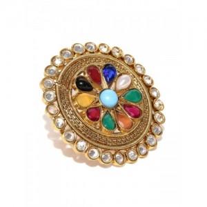PANASH Multicoloured Stone-Studded Ring