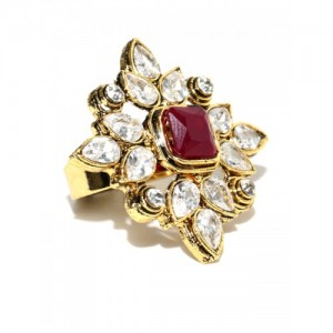 Spargz Silver & Maroon Antique Gold-Plated Stone-Studded Ring