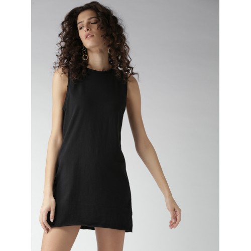 d66202dd565 Buy FOREVER 21 Women Black Solid T-shirt Dress online | Looksgud.in